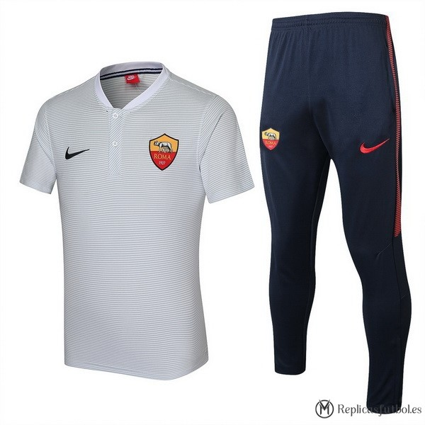 Polo As Roma Conjunto Completo 2017/2018 Blanco Replicas Futbol