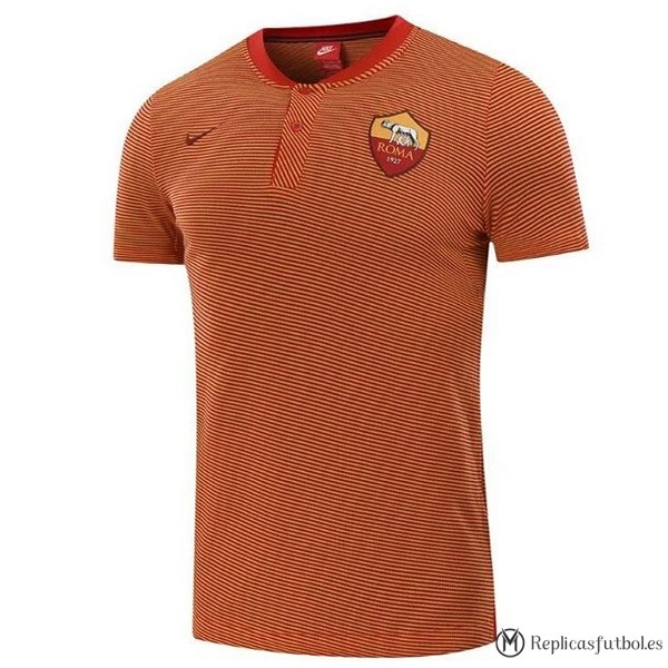 Polo AS Roma 2017/2018 Naranja Marino Replicas Futbol