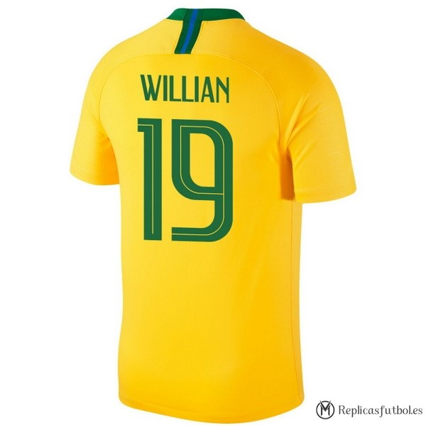 Camiseta Seleccion Brasil Primera Willian 2018 Amarillo Replicas Futbol