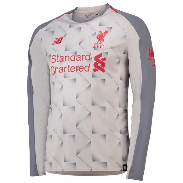 Camiseta Liverpool Tercera ML 2018/2019 Blanco Replicas Futbol