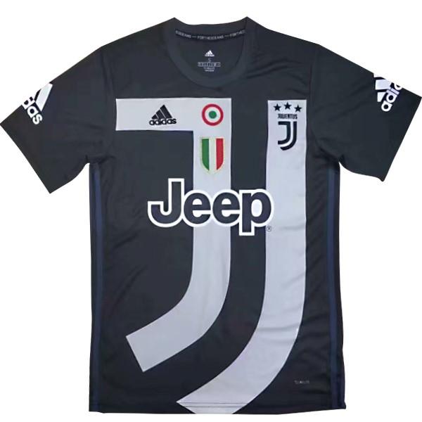 Camiseta Entrenamiento Juventus 2018 2019 Negro Blanco Replicas Futbol b3da9f4321b40