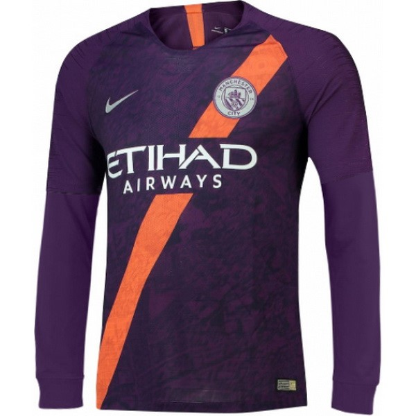 Camiseta Manchester City Tercera ML 2018/2019 Purpura Replicas Futbol