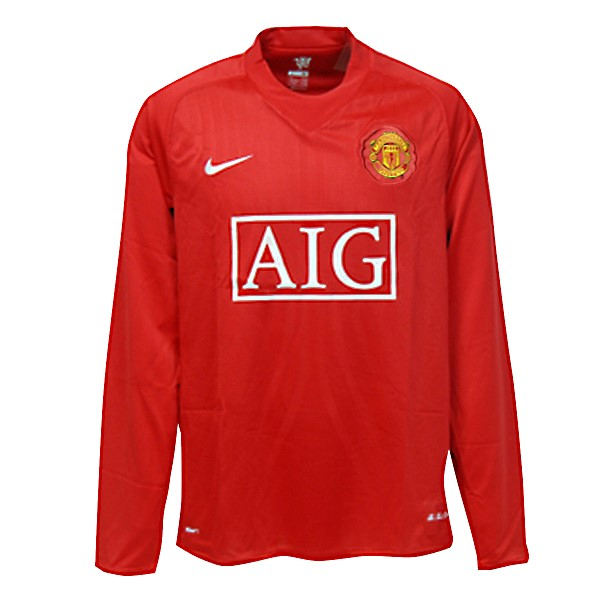 Camiseta Manchester United Primera ML Retro 2007 08 Rojo Replicas Futbol