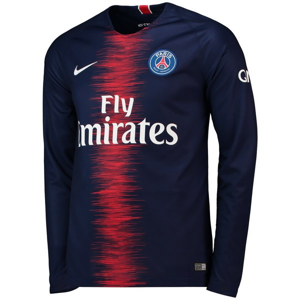 Camiseta Paris Saint Germain Primera ML 2018/2019 Azul Replicas Futbol