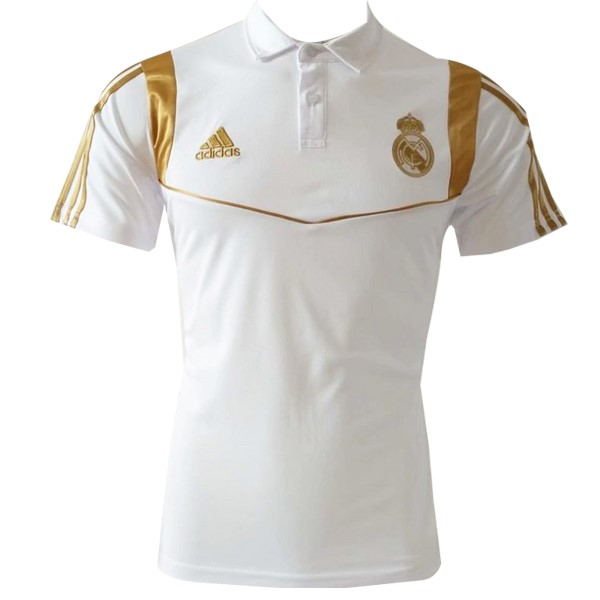 Polo Real Madrid 2019/2020 Blanco Oro Replicas Futbol