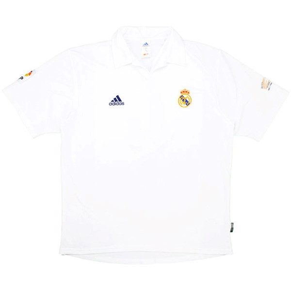 Camiseta Real Madrid Primera Retro 2001 2002 Blanco Replicas Futbol