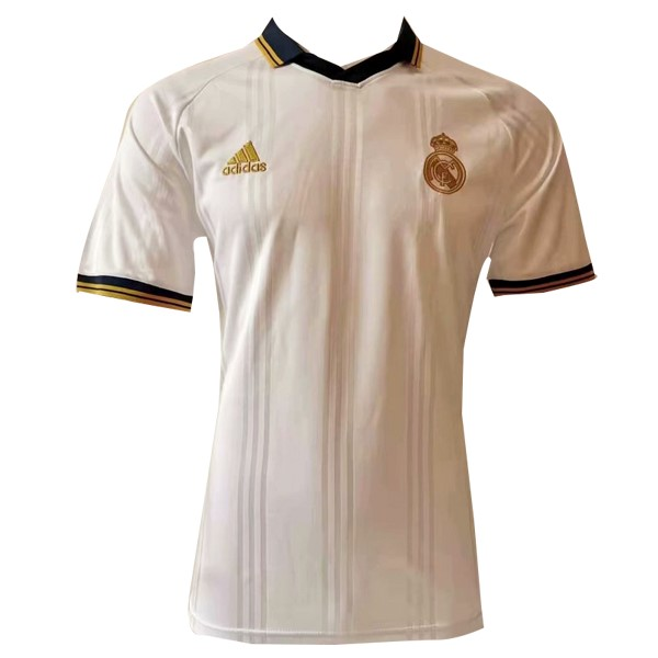 Polo Real Madrid 2019/2020 Blanco Amarillo Replicas Futbol