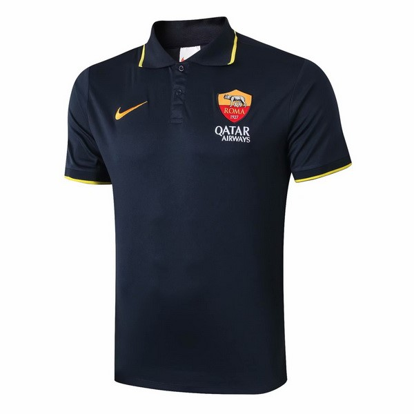 Polo AS Roma 2019/2020 Negro Amarillo Replicas Futbol