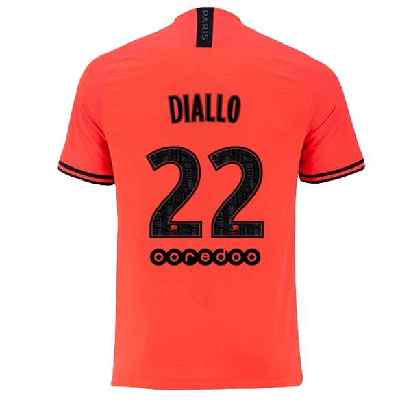 JORDAN Camiseta Paris Saint Germain NO.22 Diallo Segunda 2019/2020 Naranja Replicas Futbol