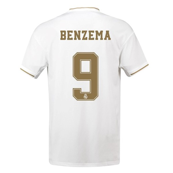 Camiseta Real Madrid NO.9 Benzema Primera 2019/2020 Blanco Replicas Futbol