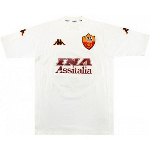Tailandia Camiseta As Roma Segunda Retro 2000 2001 Blanco