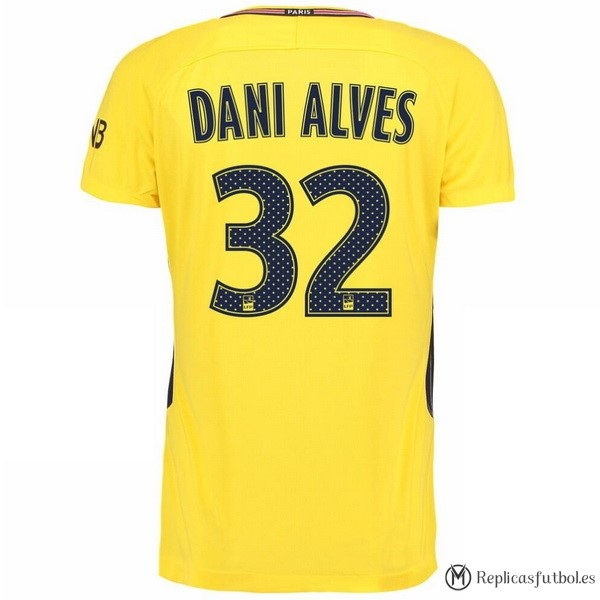 Camiseta Paris Saint Germain Alves Segunda Dani 2017/2018 Replicas Futbol